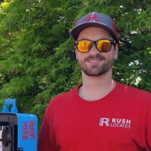 Pic of Underground Locator Jack who poses with his oil tank finding and pipe finding tool