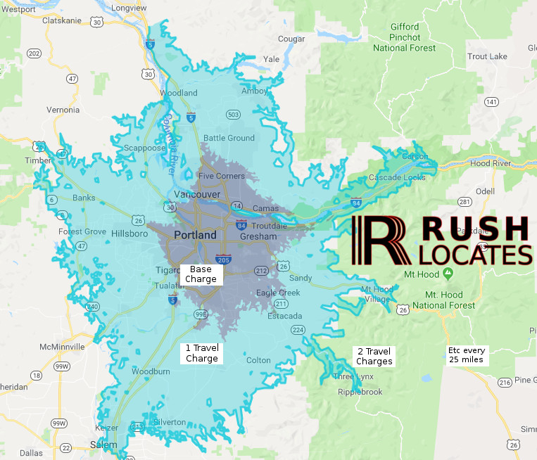 graphic overlay of rush locates travel radius for extra cost